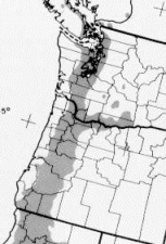 Figure 4 - Oregon white oak range in Oregon and Washington.