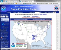 Screen shot of NOAA's Storm Prediction Center's website showing reports of wind and hail on July 23, 2014.