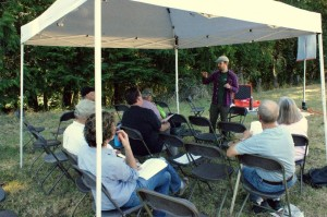 Patrick Shults, the new WSU Extension Forester for Southwest Washington, teaches a class on forest inventory at the Steve Stinson Legacy Family Forestry Field Day in Woodland in August. (Photo by Paul Figueroa)